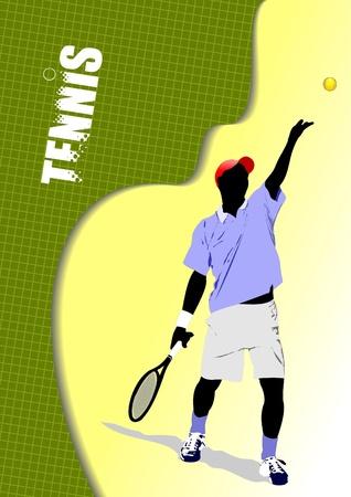Poster tennis player Vector