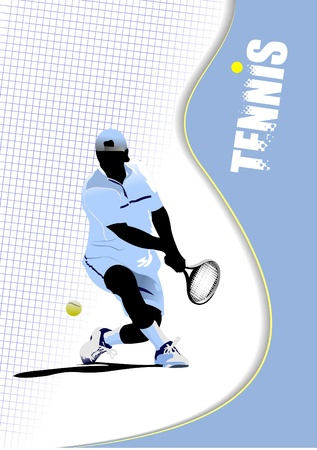 Poster tennis player Vector