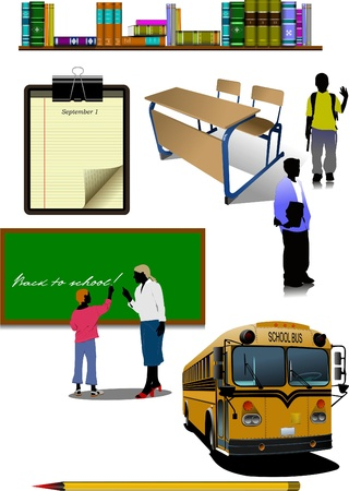 Back to school. School equipment Vector