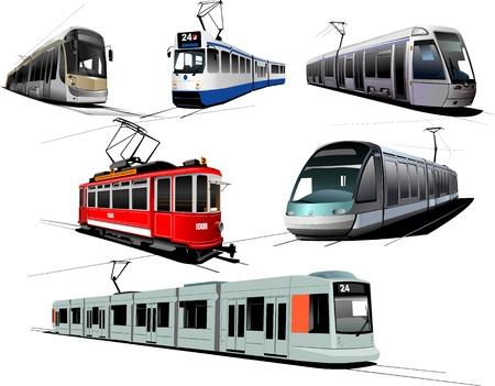 tramway: Trasporti urbani. Sei i tram Vettoriali