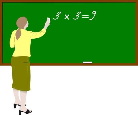 Woman teacher in classroom. Back to school Stock Vector - 8749406