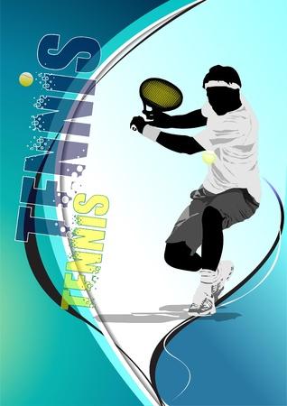 Eps10 Tennis player poster. Illustration