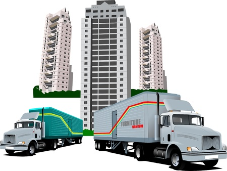 dormitory: New Dormitory and two trucks Illustration