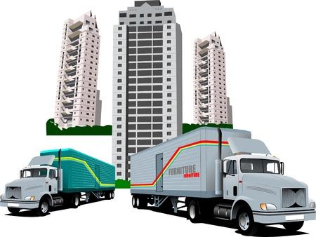 akademik: Nowe dormitorium i dwóch ciężarówki Ilustracja
