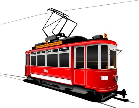 tramcar: City transport. Vintage tram style Illustration