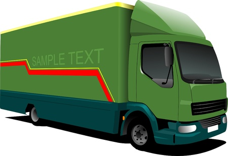 Vector illustration of small green  truck Stock Vector - 9551497