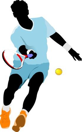 tennis racquet: Jugador de tenis. Ilustraci�n del vector de color para los dise�adores