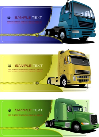 zip: Three zipper banners with trucks. Vector illustration
