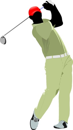 golfer: Golfer hitting ball with iron club. Vector illustration Illustration