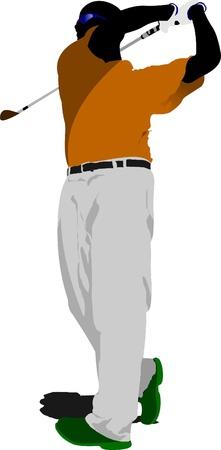 golfer swinging: Golfer hitting ball with iron club. Vector illustration Illustration