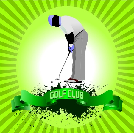 Poster with Golf players. Vector illustration  Vector