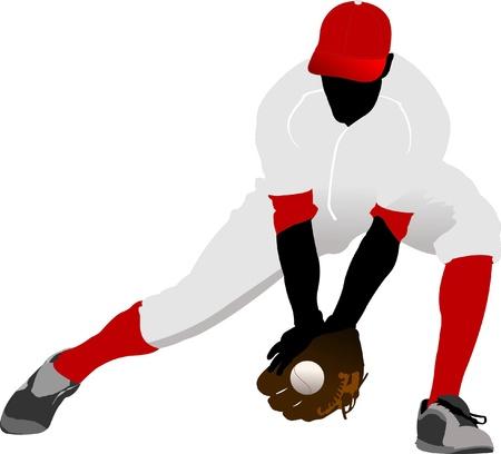 catcher baseball: Joueur de baseball. Illustration vectorielle Illustration