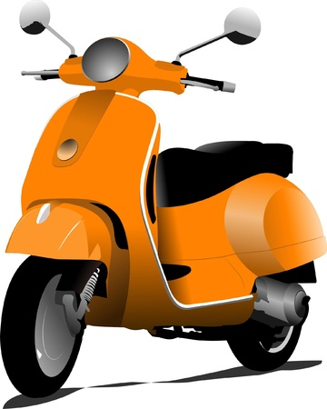 scooters: Orange city scooter. Vector illustration
