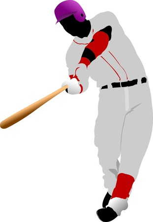 at bat: Jugador de béisbol. Ilustración vectorial Vectores