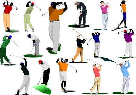 hitting: Sedici i golfisti colpire la palla con il club di ferro. Illustrazione vettoriale