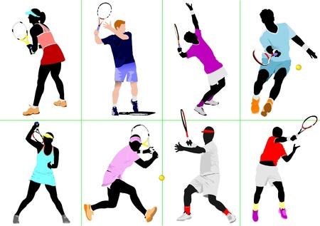 tennis: Joueuse de tennis. Illustration de vecteur color�e pour les concepteurs