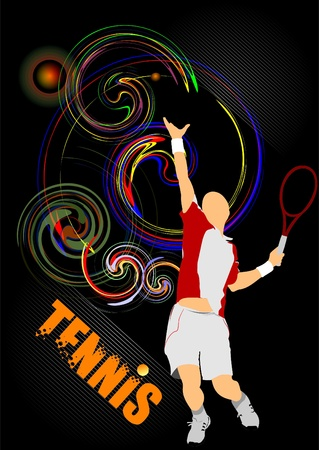 Eps10 Tennis player poster. Colored Vector eps 10 illustration for designers Vector