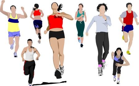 bilinçli: The running people. Vector illustration Çizim