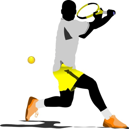 tennis serve: Tennis player. Colored Vector illustration for designers