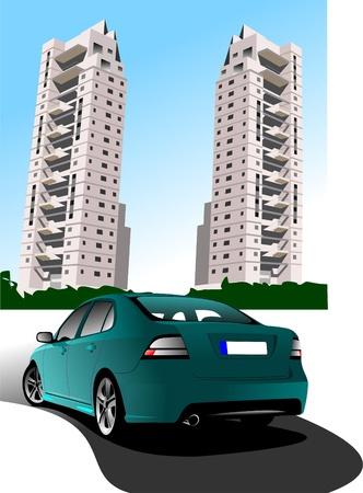 akademik: Dormitorium i zielony samochód Sedanem. Ilustracja wektora Ilustracja