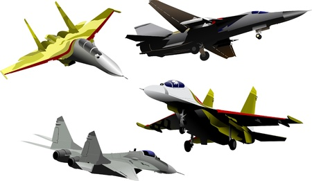 vehicle combat: Four military aircrafts Vector illustration