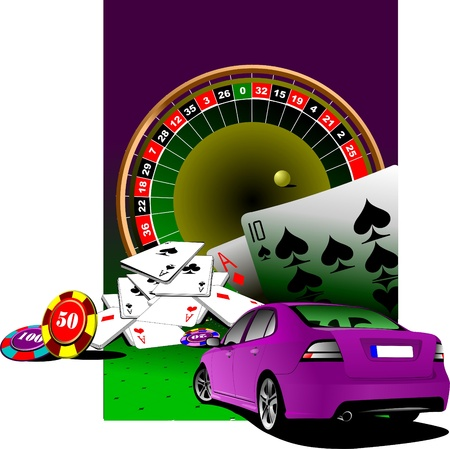 roulette table: Casino elements with purple luxury sedan car . Vector illustration