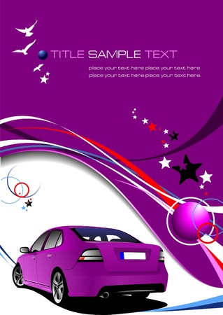 derived: Purple business background with luxury car image. Vector illustration