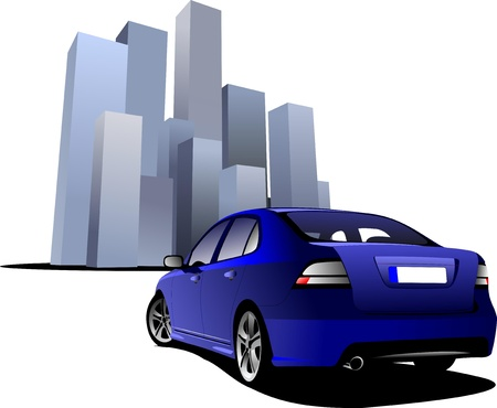 Luxury blue car on the town image background. Vector illustration Stock Vector - 9551720