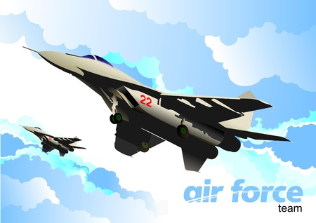 fighter pilot: vector combat aircraft Illustration