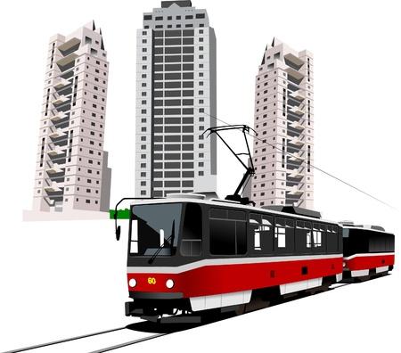 tramway: Dormitorio e tram. Vector illustration Vettoriali