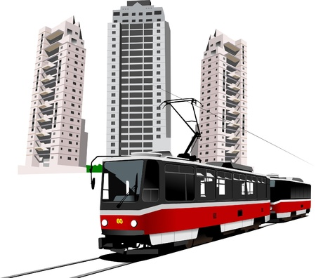 Dormitory and tram. Vector illustration Stock Vector - 9551753