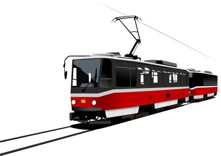 tramcar: City transport. Tram. Vector illustration Illustration