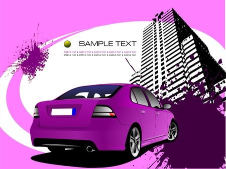 purple car: Purple business background with car image. Vector illustration Illustration