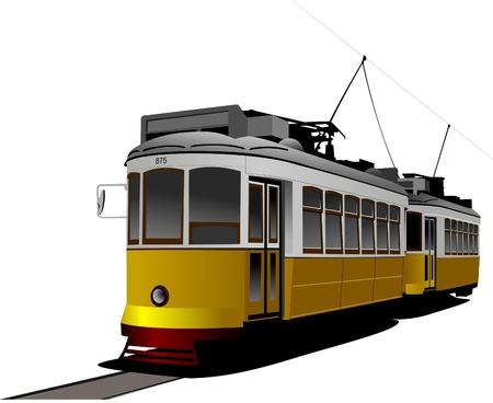 tramcar: City transport. Vintage tram style. Vector illustration