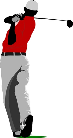 Iron Man: Golfer hitting ball with iron club. Vector illustration Illustration