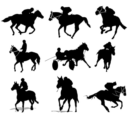 galloping: Horse riders silhouettes. Vector illustration