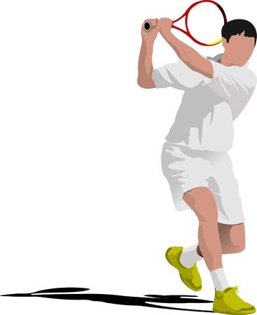 tennis racquet: Tenista. Color ilustraci�n vectorial para dise�adores