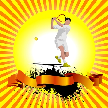 Tennis player poster. Colored Vector illustration for designers Stock Vector - 9551963
