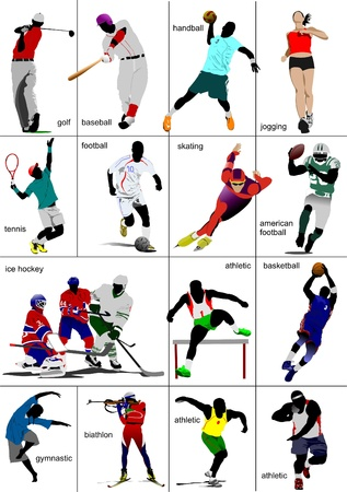 Some kinds of sports. Collection. Colored vector illustration Vector