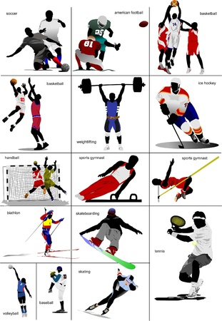 athletic body: Some kinds of sports. Collection. Colored vector illustration