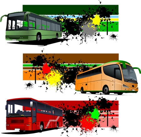 commercial painting: Three grunge Banners with city bus. Vector illustration