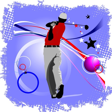 movement control: Poster with Golf players. Vector illustration