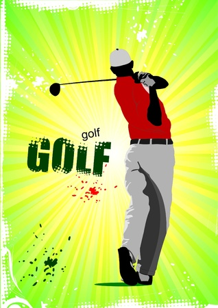 course of action: Poster with Golf players. Vector illustration
