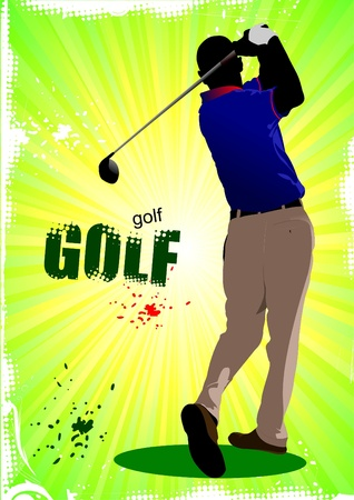 golf iron: Poster with Golf players. Vector illustration