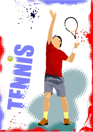 court symbol: Tennis player poster. Colored Vector illustration for designers
