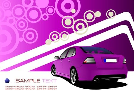 Purple business background with luxury car image. Vector illustration Vector