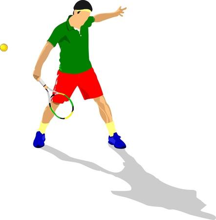 serve: Tennis player. Colored Vector illustration for designers