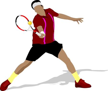 tennis racquet: Tennis player. Colored Vector illustration for designers