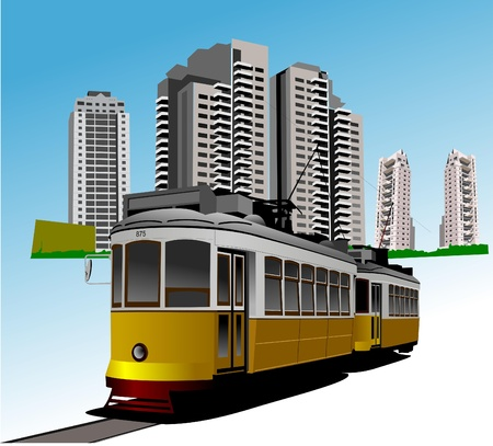 rarity: Dormitory and rarity tram. Vector illustration
