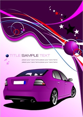 Purple business background with car image. Vector illustration Vector